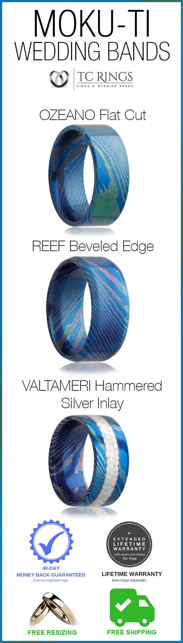 A work of art whose blue and green swirls resemble a satellite image of the ocean. Each ring is unique with some having a reddish speck or streak. OZEANO, REEF, & VALTAMERI formed from a mix of titanium and other metals, has a classic flat cut style and a Comfort Fit band and are show stoppers this year!