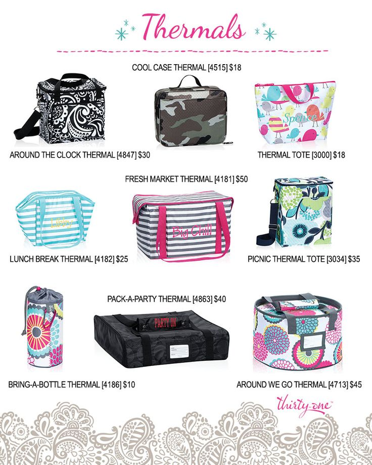 A closer look at Thirty-One thermals. Around the clock thermal, cool case thermal, thermal tote, lunch break thermal, fresh market thermal, picnic thermal, bring-a-bottle thermal, pack-a-party thermal, around we go thermal. #31http://www.mythirtyone.com/639029