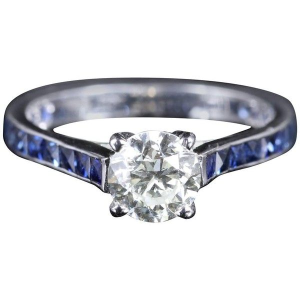 Preowned Antique Edwardian Diamond Engagement Ring Sapphire Shoulders ($7,904) ❤ liked on Polyvore featuring jewelry, rings, blue, engagement rings, pre owned engagement rings, antique rings, diamond engagement rings, blue diamond rings and sapphire rings