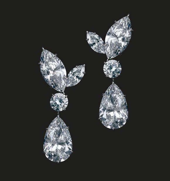 32.40 Carat D IF Diamond Earrings | Perfectly matching marquise and round diamond earrings.  Diamonds 32.40 cts  #houseoftabbah #tabbah