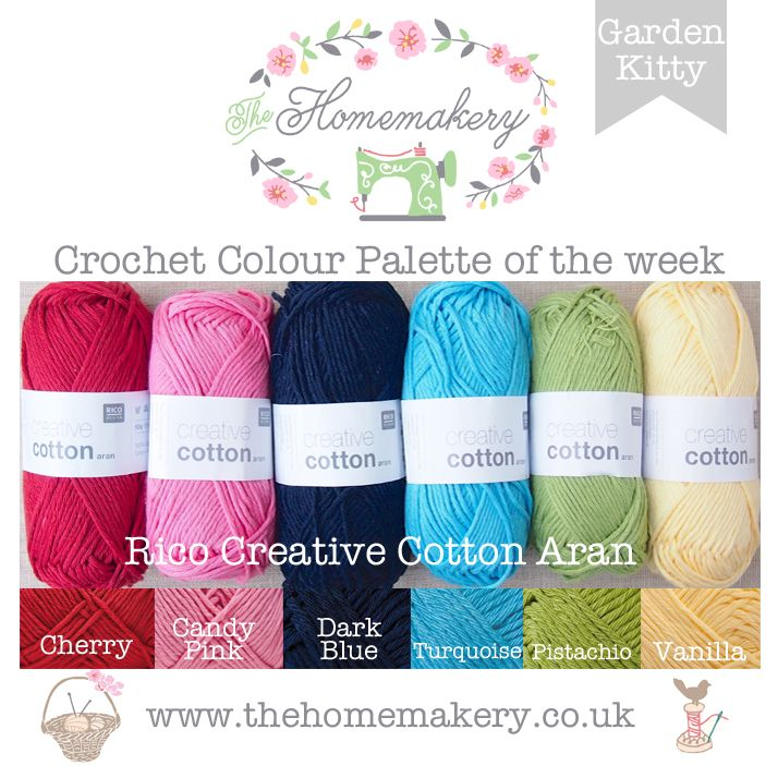 This weeks Pam Kitty Garden inspired Crochet Colour Palette uses bright yarn from Rico Creative Cotton Aran, a super value cotton yarn.