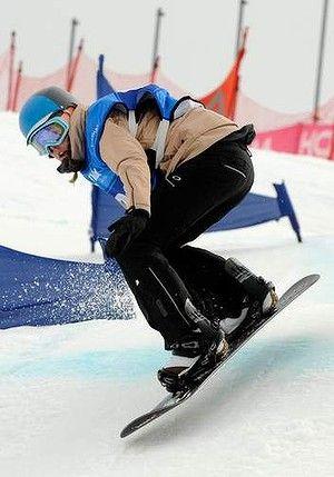Georgia, an Erindale College student, snowboarding