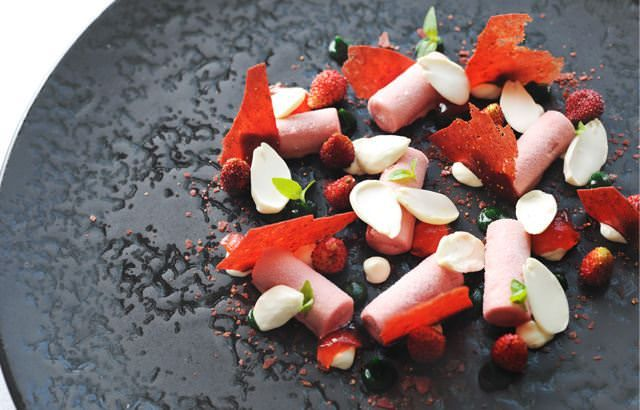 Ripe strawberries combine with basil for a fresh summer dessert recipe by Adam Simmonds. Strawberry ice cream and fromage frais mousse make a creamy treat