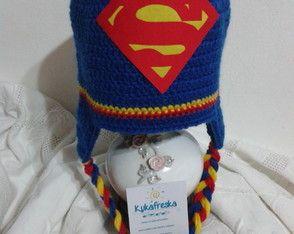 Touca de Croche Infantil Superman