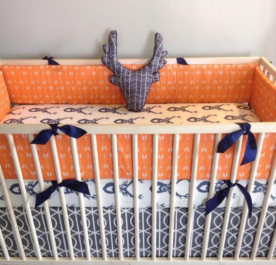 Crib Bedding Set In Woodland Orange Navy Gray By HudsonBedford 22000