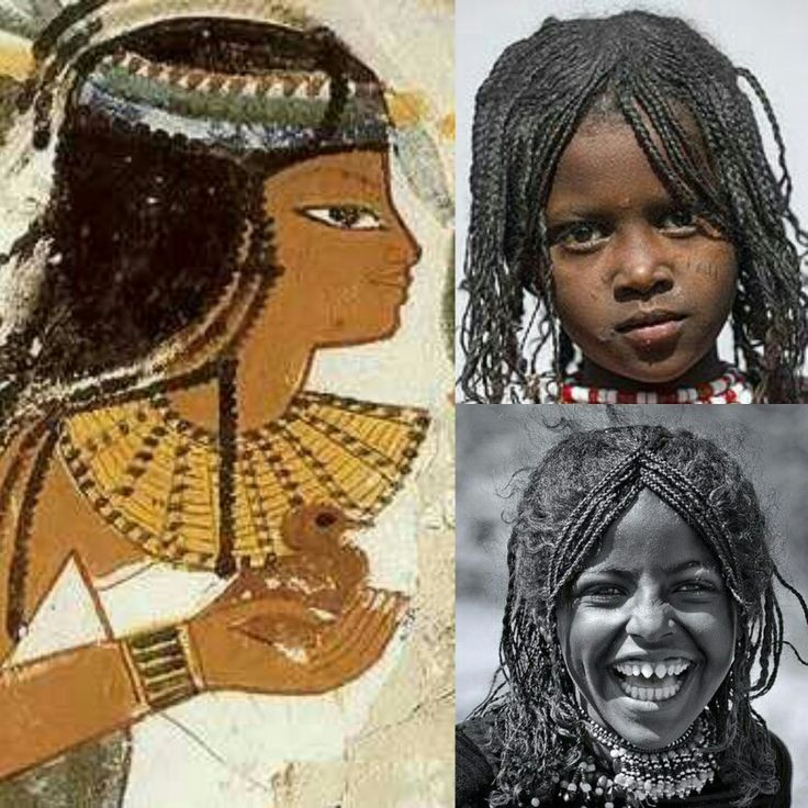 Young girls hairstyles, then and now: all wear an A-shaped braided hair diadem: The young daughter of the Court astronomer priest Nakht, during the reign of Thutmose IV, 18th Dynasty, Thebes, Egypt. Afar girl, Assayta, Ethiopia; Afar girl, Danakil, Ethiopia.