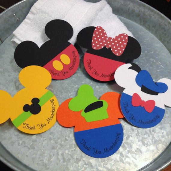 Set of 5 Mousekeeping Envelopes Mickey, Minnie, Donald, Goofy & Pluto - Fab Five