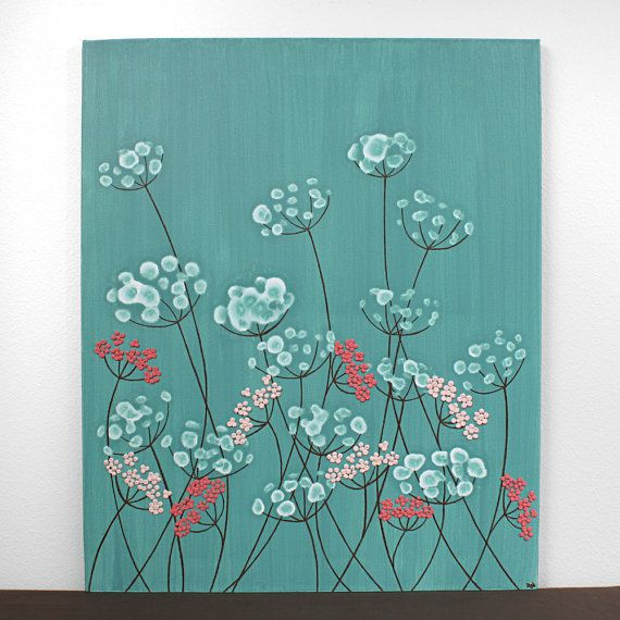 Sticker pour chambre de filles - fleurs rose et bleu sarcelle peinture - texture Art sur petite toile 20 X 24