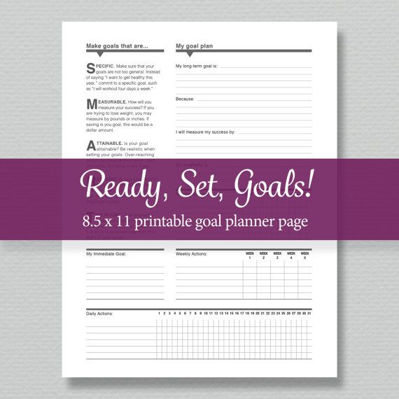 Goal Planning Printable  Standard Letter Size   by sassyplanners