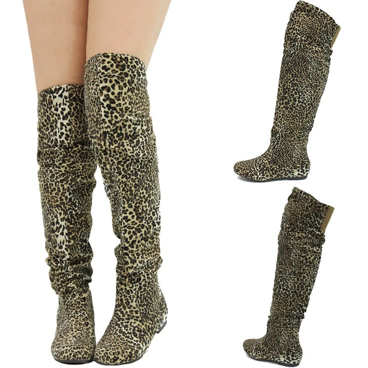 Flat Heel Thigh High Boots | ... Slouchy Low Flat Heel Over The ...
