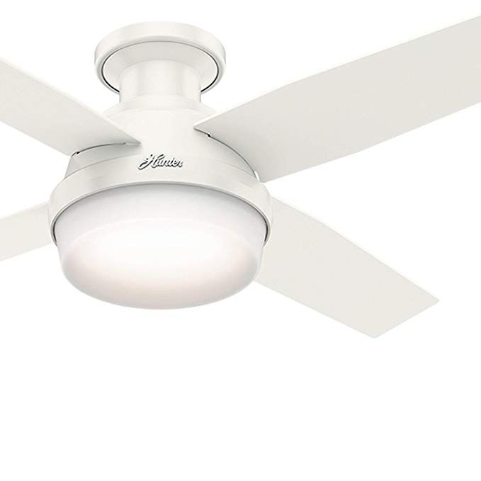 Hunter Fan 44 Inch Contemporary Low Profile White Ceiling Fan With Led Light Kit And Remote Control Renewed R Ceiling Fan White Ceiling Fan Best Ceiling Fans