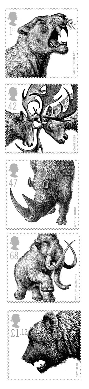 Ice Age Animals : UK postage stamps, wood engravings by Andrew Davidson