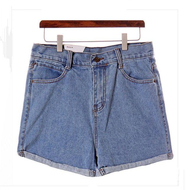 Hot Sale Zipper High Waist Slim Women Jean Shorts Blue