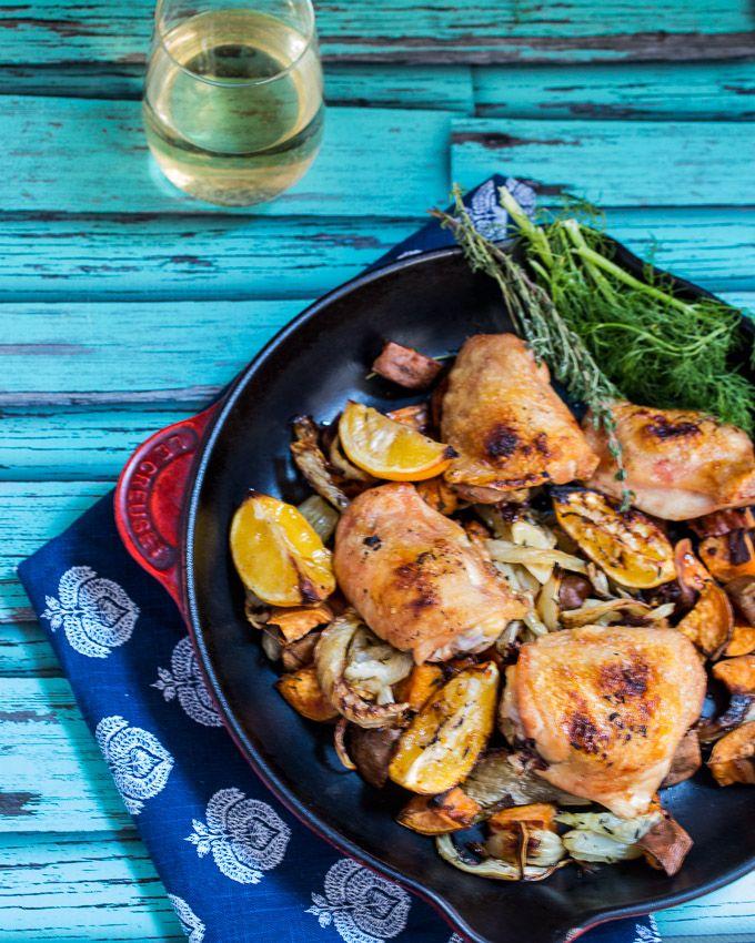 Roasted Meyer Lemon Chicken Thighs, Fennel & Sweet Potato   girlinthelittleredkitchen.com
