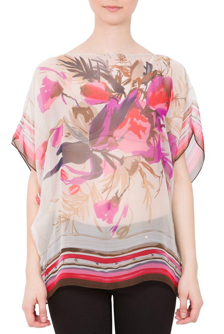 Bluza grej cu imprimeu floral ciclam din matase naturala BM05 de la Ama Fashion