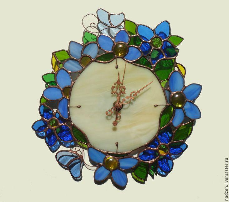 Купить Витражные часы Синие Цветы - голубой, синий, часы, цветы, Витраж, тиффани