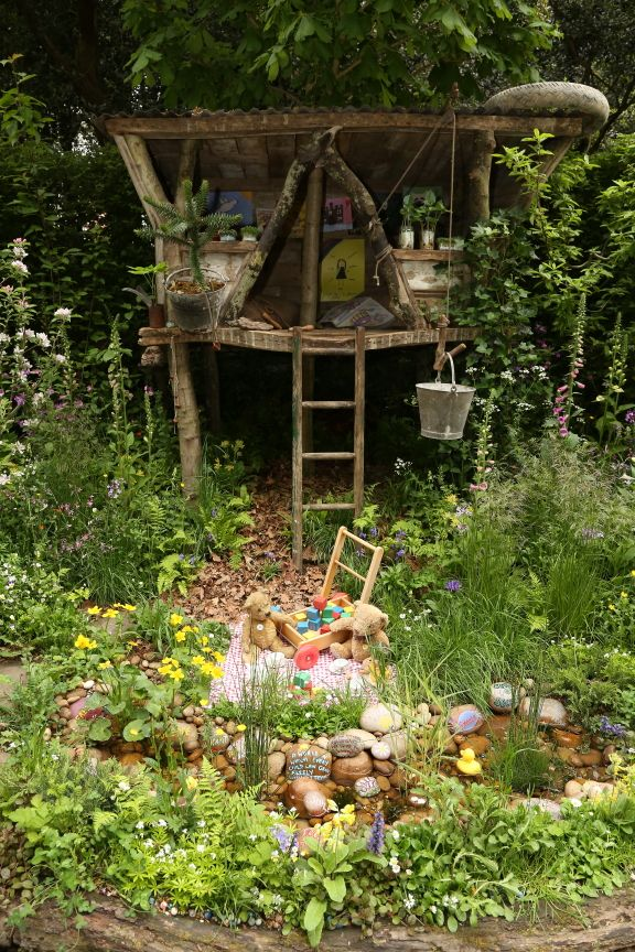 """The NSPCC's entry to the RHS Chelsea Flower Show was a """"Garden of Magical Childhood"""", featuring a tree house, a vintage teddy bear's picnic and a wishing pond.  What's your wish or message of hope for future generations?"""