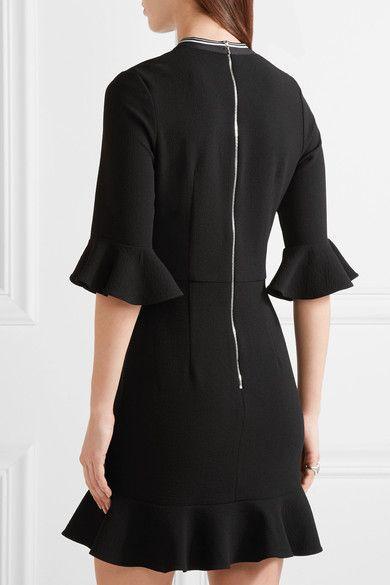 Rebecca Vallance - Billie Ruffled Stretch-crepe Mini Dress - Black - UK10