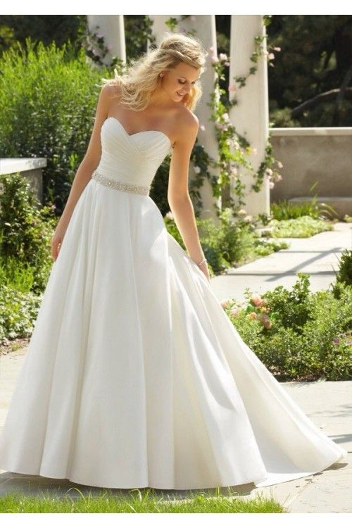 Concise Sweetheart Sleeveless A-line White Ruched Bodice With Beading Waistline Wedding Dresses