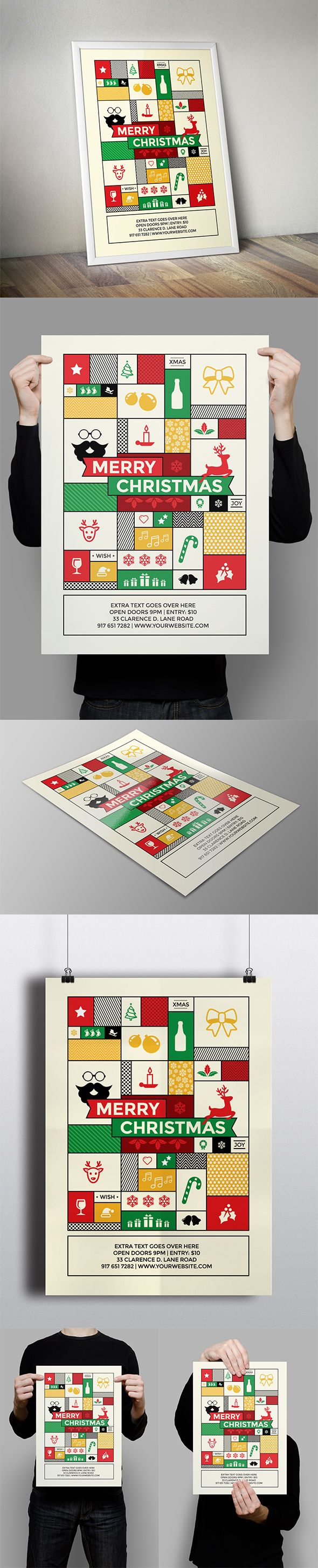 Modern Hipster Christmas Flyer on Behance