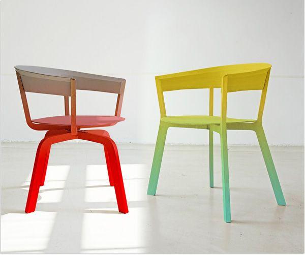 Kleurverloop op mooie eetkamerstoelen van Moroso  |  Via Designhausno9