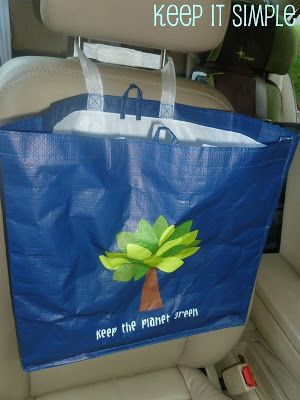 Dollar Tree bag as a trash can for my car = more sanity in the car with two kids! YAY!
