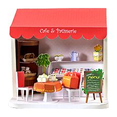 Doll House cake shop (pastry box showcase menu board table chair strawberry short pudding a la mode) free material download | Paper Museum