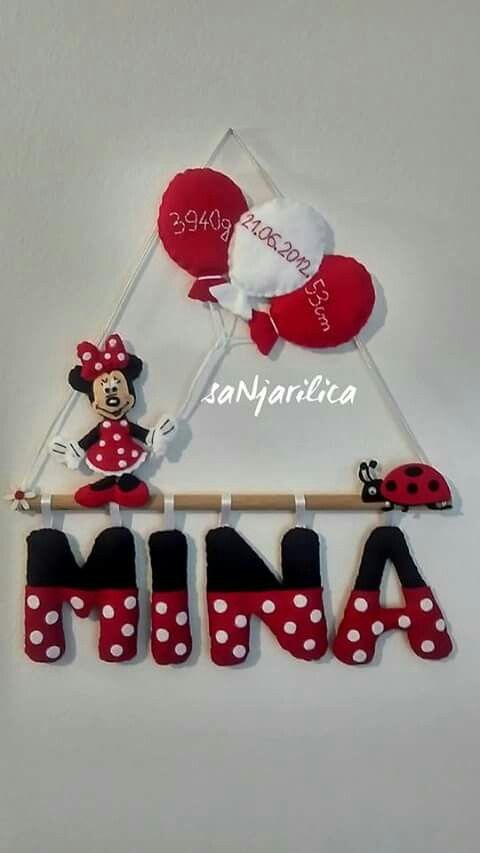 Felt Minnie the Mouse, name banner https://www.facebook.com/sanjarilica