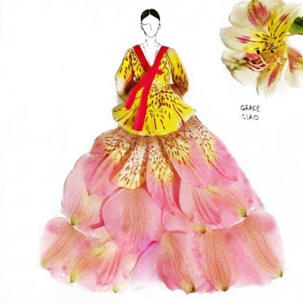 Fashion illustrator, Grace Ciao, creates designs using real flower petals and other garden organics http://instagram.com/grace_ciao#