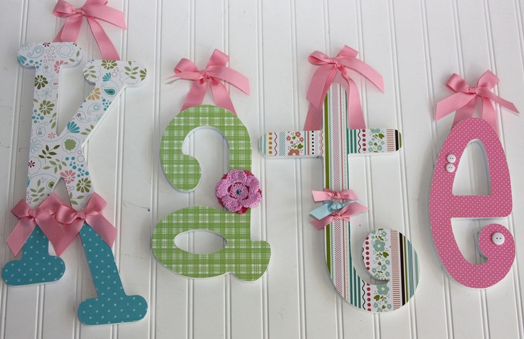 love the different embellishments on each letter wood letters custom wooden letters baby name wood letters pinterest wooden letters