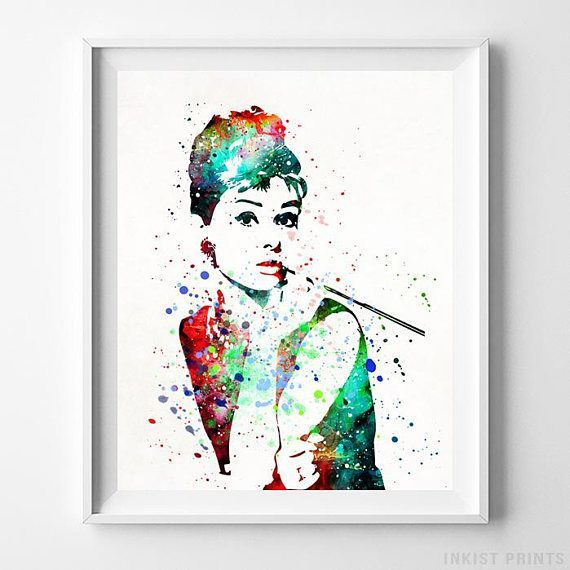 Audrey Hepburn Watercolor Wall Art Poster - Prices from $9.95 - Click Photo for Details - #nursery #christmasgift #giftforher #kidsroom #babyroomdecor #AudreyHepburn