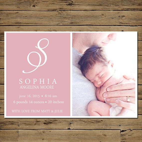 Printable Baby Girl Birth Announcement - Custom Photo Birth Card - Simply Sophisticated on Etsy, $11.31 CAD