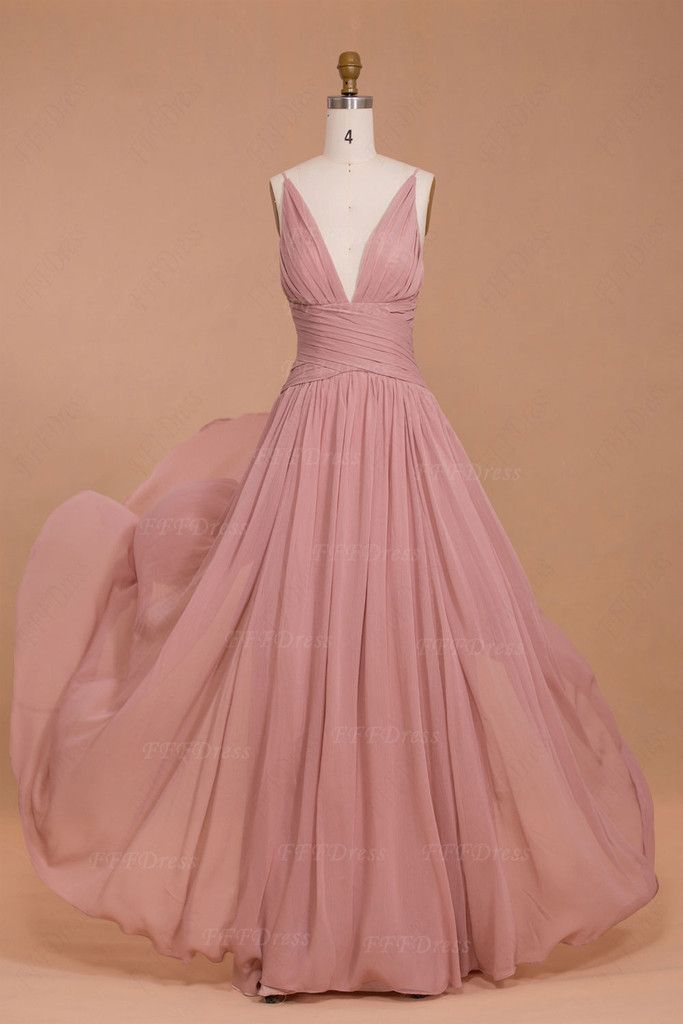 Spaghetti Straps Dusty Pink Bridesmaid Dresses Long Pink