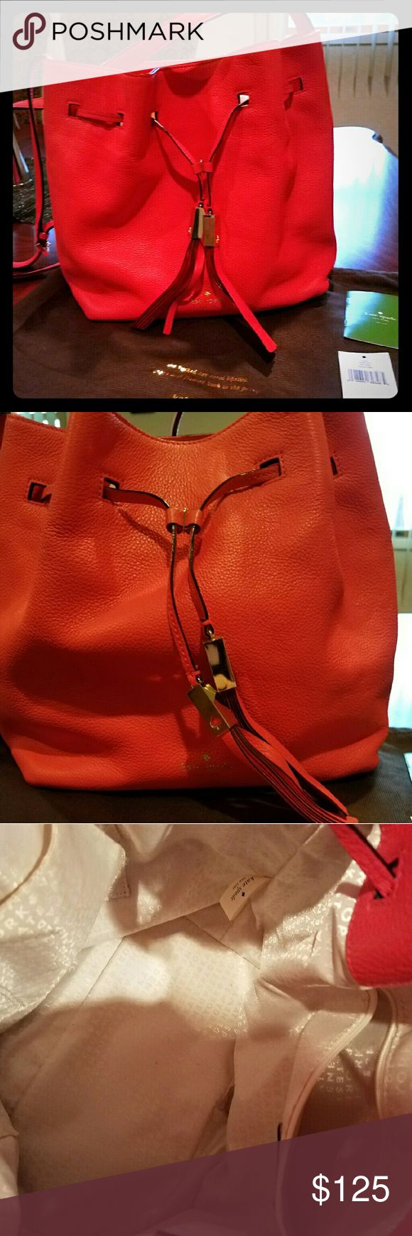 "Kate Spade Coral leather crossbody ""Hotrose"" leather medium to large crossbody bag with drawstring kate spade Bags Crossbody Bags"