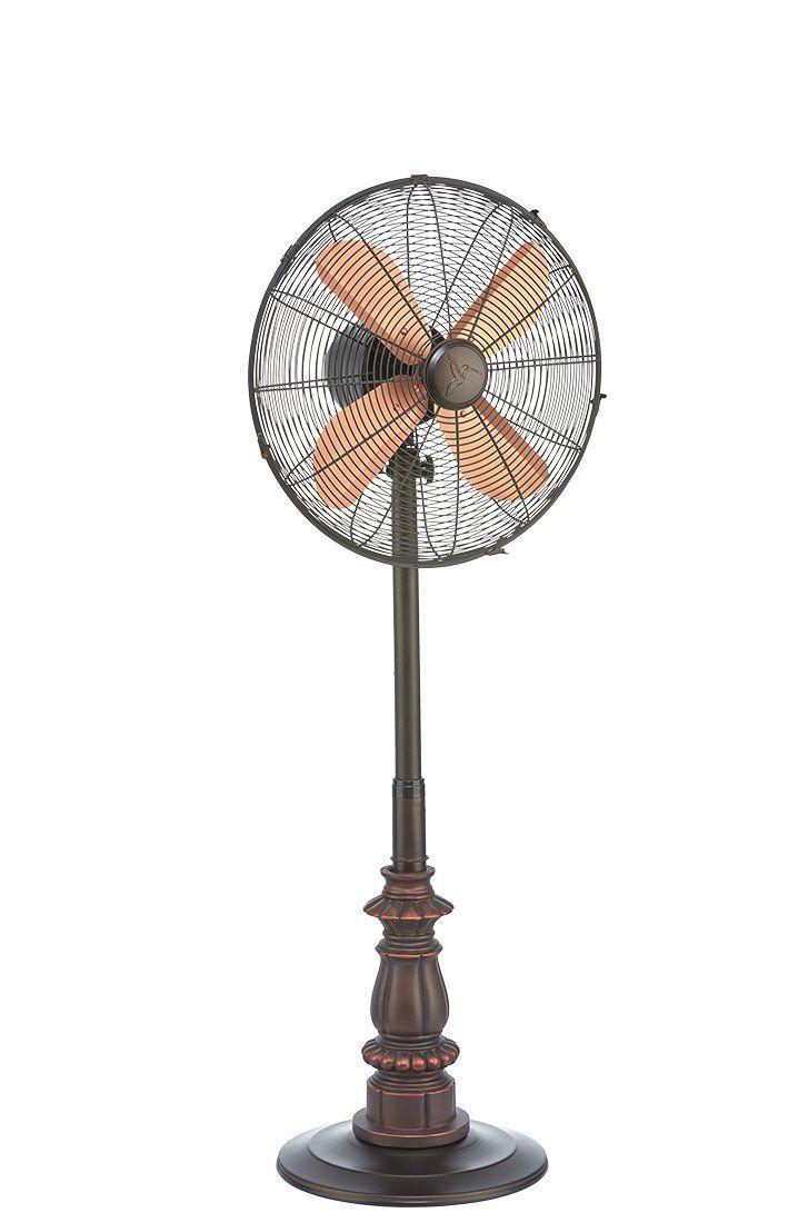 DecoBREEZE Kipling Metal and Polyresin Adjustable Height Pedestal Fan Oscillating Stand Fan, 16-Inch