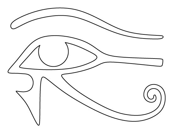 Eye of Horus pattern. Use the printable outline for crafts, creating stencils, scrapbooking, and more. Free PDF template to download and print at http://patternuniverse.com/download/eye-of-horus-pattern/