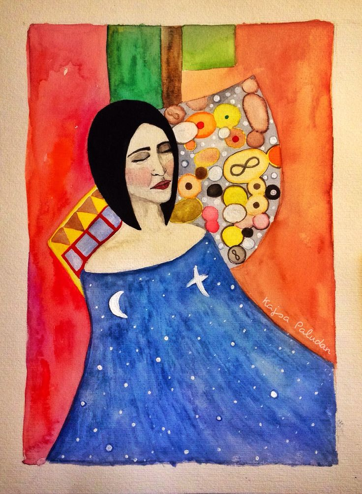 Watercolor, ©Kajsa Li Paludan, Girl, stars, abstract