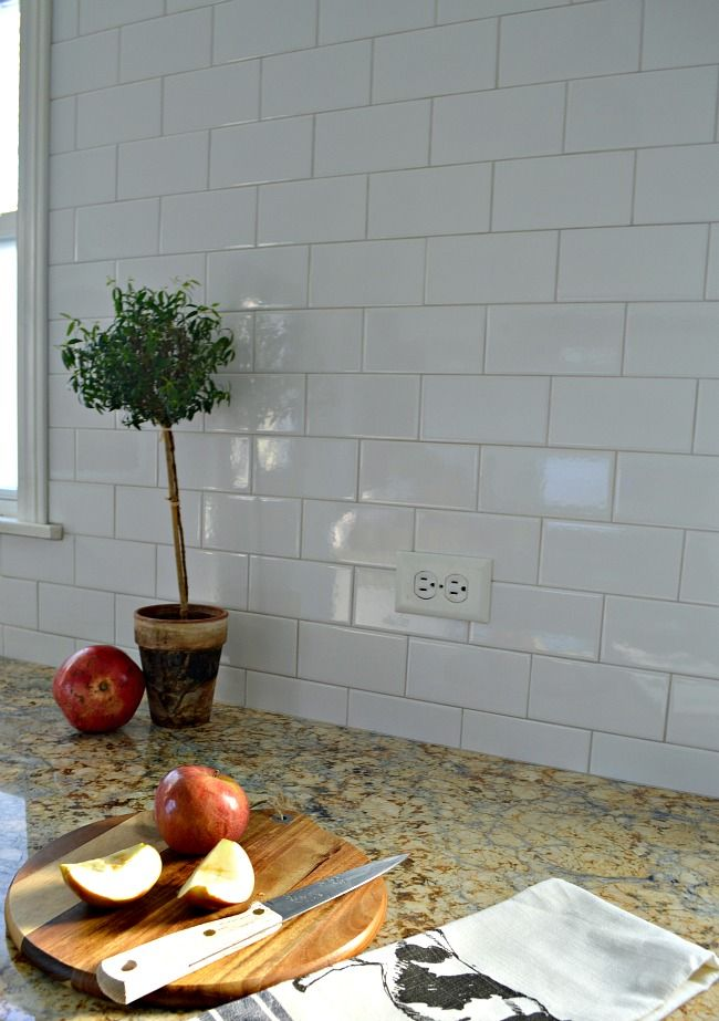 Kitchen Reno Update: Subway Tile Backsplash and warm gray grout on window wall| chatfieldcourt.com