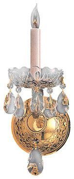 Crystorama Traditional Crystal Wall Sconce in Polished Brass - traditional - Wall Sconces - Hansen Wholesale
