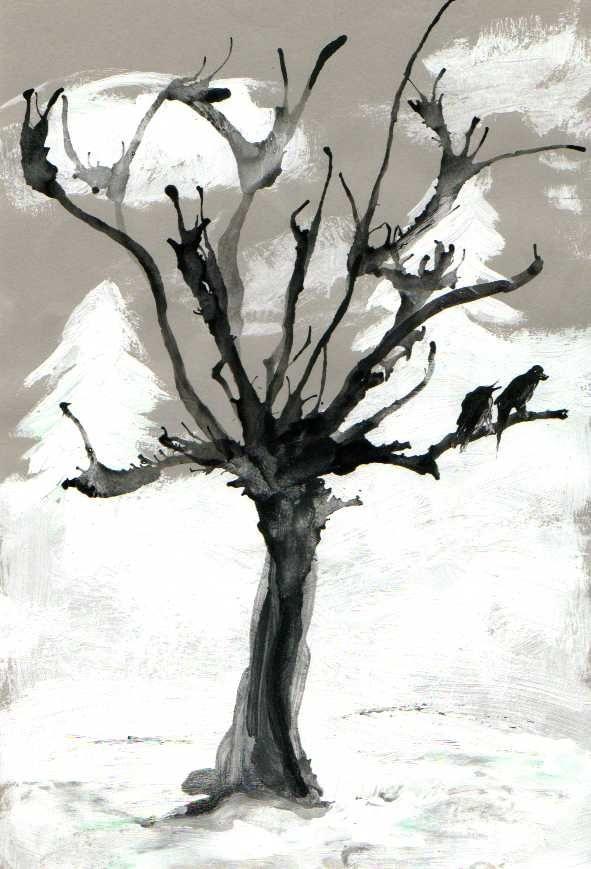 """fächerübergreifend unterrichten (Kunst & Deutsch): Bild zum Gedicht """"Ich male mir den Winter"""""""