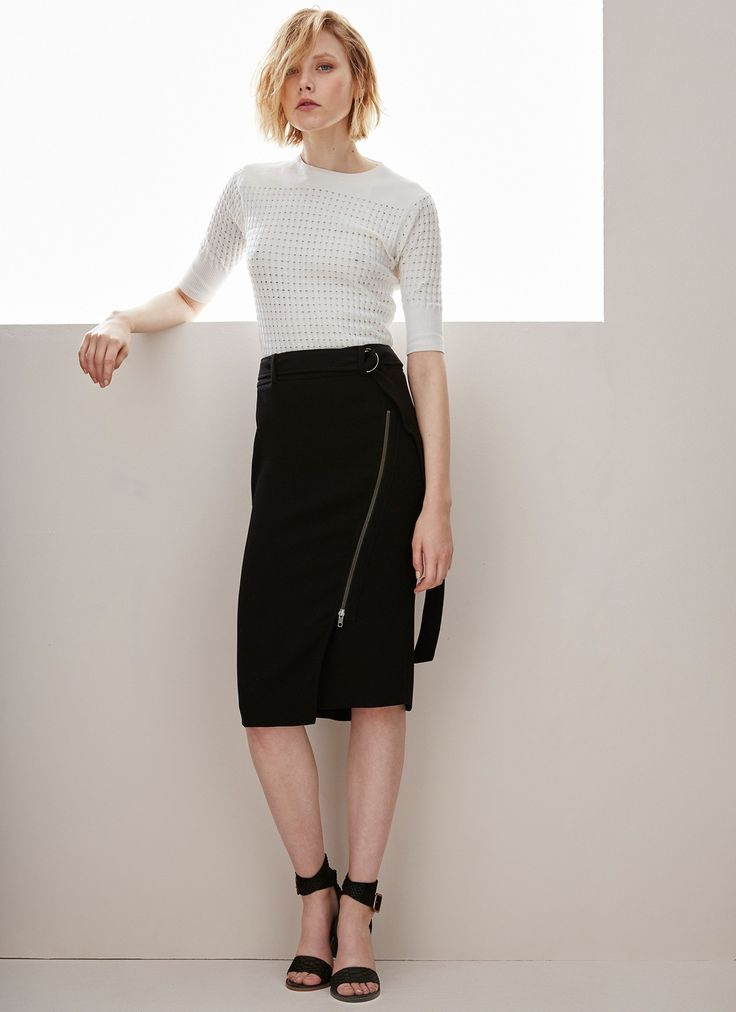 Falda lápiz con diseño cruzado - Faldas | Adolfo Dominguez shop online