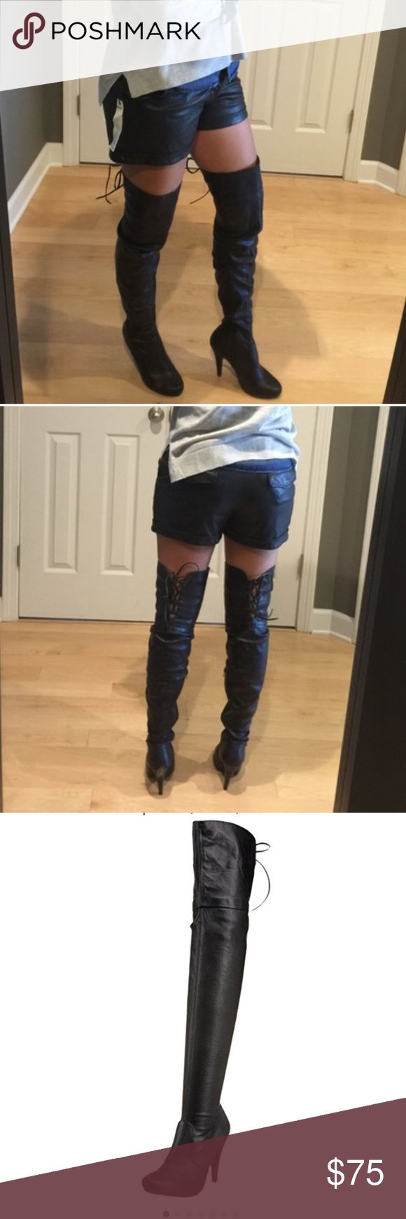 Steve Madden thigh High leather boots Steve Madden Ilusionn Thigh High Leather boots, EUC, black, lace on the back of thigh for adjust, can be fold down for over the Knee, some scuffs on heels, size 9, fit like an 8.5. Steve Madden Shoes Over the Knee Boots