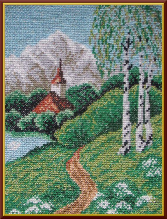 PICTURE cross stitch landscape image     OBRAZ pejzaż by Anetmoda