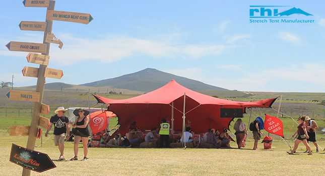 A red festival stretch tent used at Rocking the Daisies –South Africa's biggest rock festival.