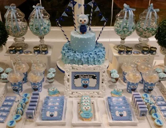 Boy's Owl Themed First Birthday Party Idea
