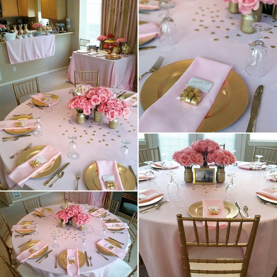Pink and Gold Bridal Shower. Bridal shower ideas. Bubbly bar. Bridal shower brunch.