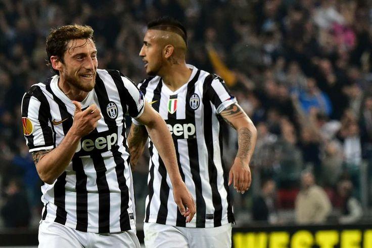 Tutta la gioia di Marchisio dopo il goal fortunato che ha chiuso la partita. #Juventus - Lione 2 a 1