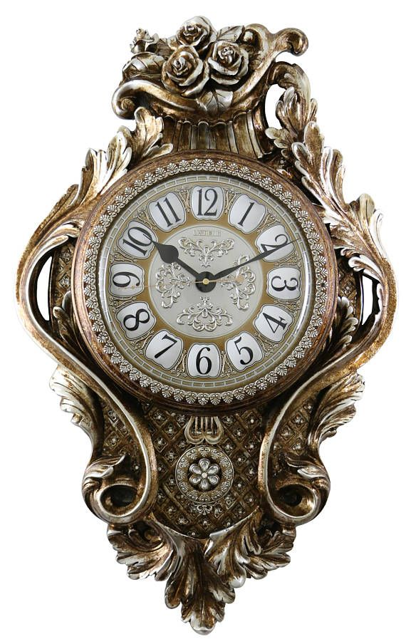 Atique Chinese Emperor Gold Silver Wall Clock With Swinging Pendulum