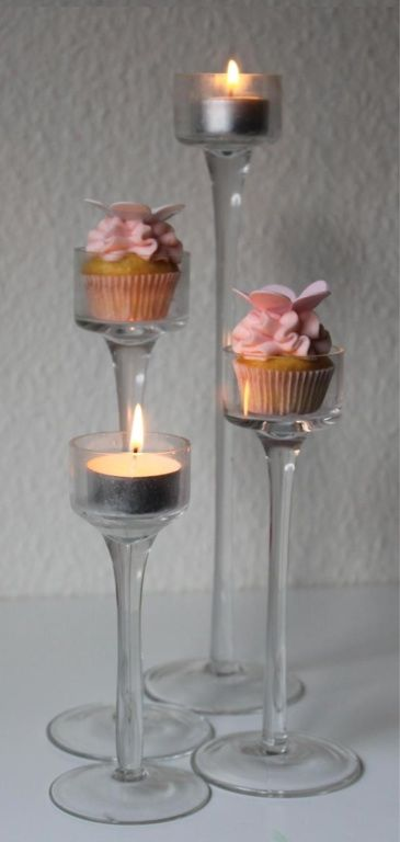 Cute idea. Votive holders as Mini cupcake display |Pinned from PinTo for iPad|