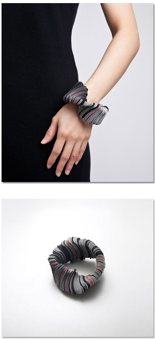 Bracelet   Yong Joo Kim. 'Reconfiguring the Ordinary: Rounded, Aligned and Twisted #2'  2011. Hook-and-loop fastener, thread.